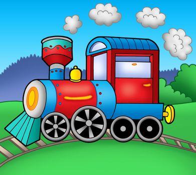 Steam locomotive on rails