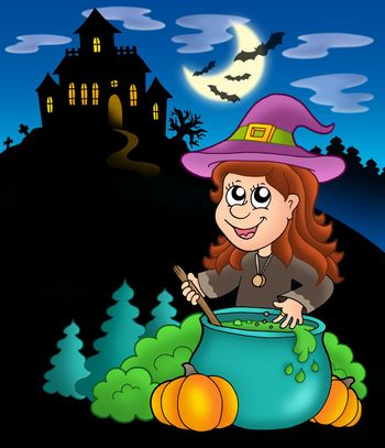 Wizard girl with haunted house