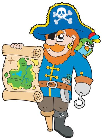 Pirate with treasure map