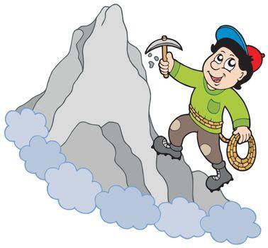 Rock climber on mountain