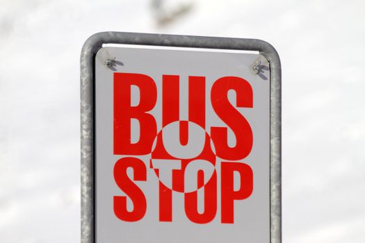 bus stop sign in Switzerland, along the road to the Bernina Pass