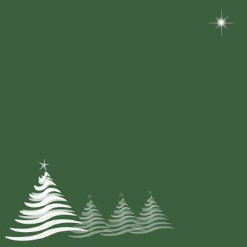 Christmas Trees and Star on Green