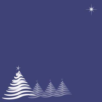 Christmas Trees and Star on Blue Indigo
