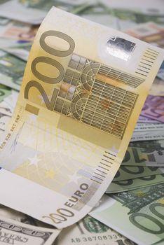 Paper money various euro banknotes