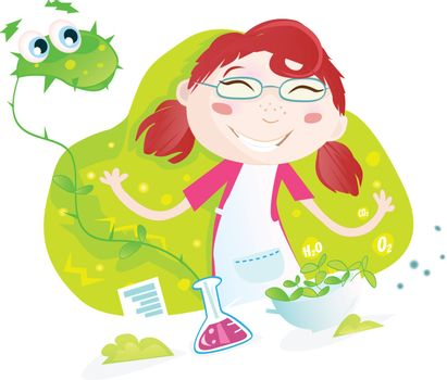 Heelp! Girl cultivated monster - plant! Vector Illustration. See similar pictures in my portfolio!