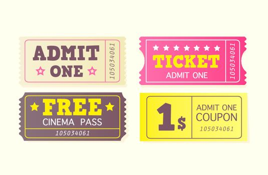 On movie or to Theatre? Use my tickets! In 4 different variants. Vector Illustration.