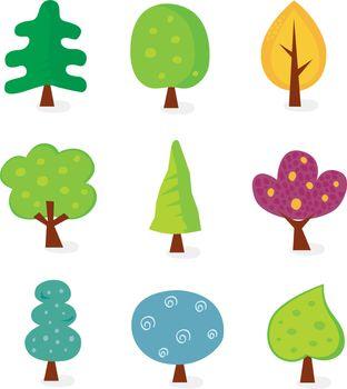 Retro vector illustration of nine trees.