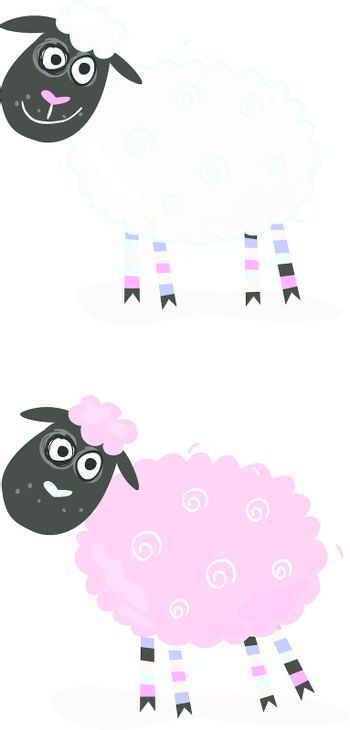 Vector Illustration of sheep. In 2 color variants.