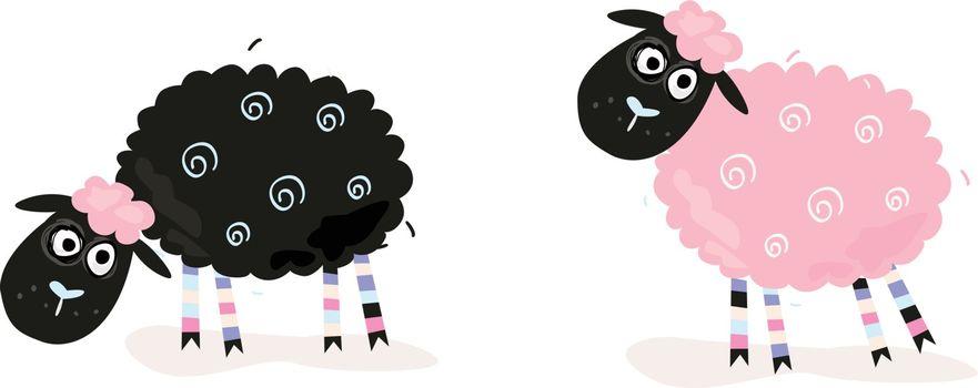 Black and pink sheeps. Vector Illustration of funny sheeps. In 2 color variants.