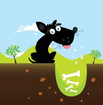 Cute black dog in nature with bones in hole. Vector illustration.