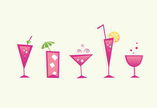 Brandy, Martini, Tequila, Vodka, Soda, Wine or Juice? Take hot summer mixed drinks! Vector format - easy to resize.
