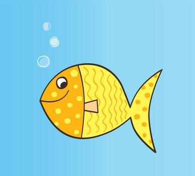 Gold yellow cartoon fish. Vector Illustration.