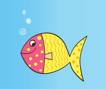 Colorful cartoon fish. Vector Illustration.