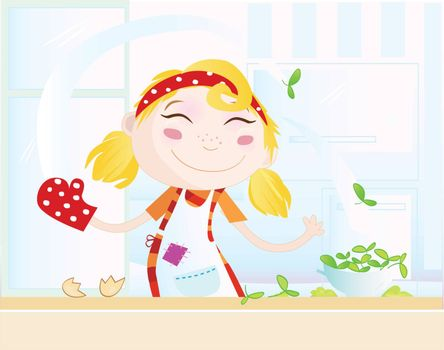 Cooking girl have fun in the kitchen.Vector Illustration