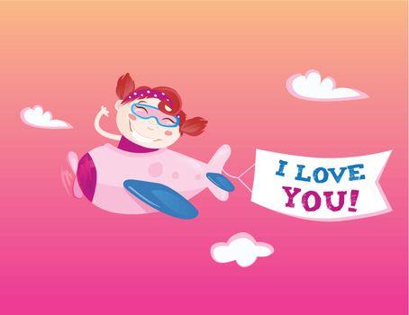 "Flying girl with ""I love you"" banner. Vector Illustration"