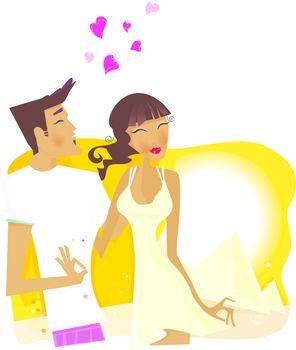 Romantic desert travel. Young loving couple on honeymoon in Egypt. Vector Illustration.