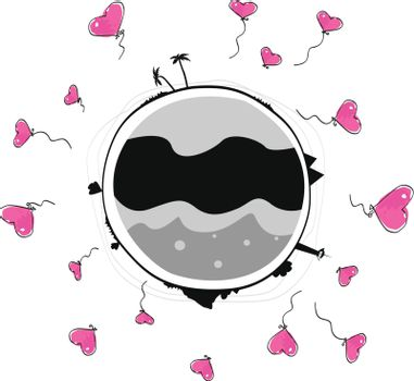 Globe with heart - shaped baloons. Art vector Illustration.