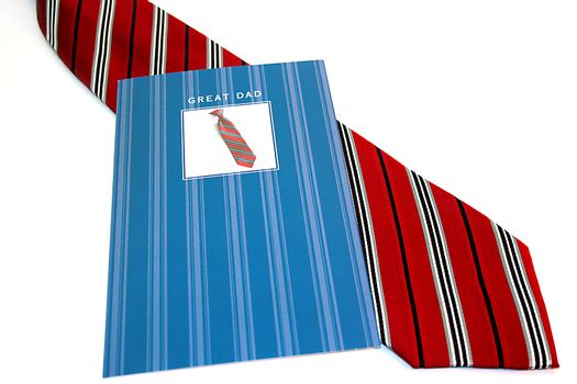 Card during the day the father and a tie in a gift.