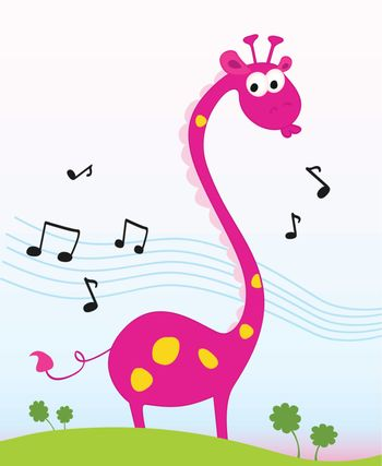 Funny jungle giraffe sing a song. Vector Illustration. Included high-resolution JPG and EPS.