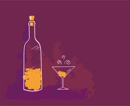 Artistic vector Illustration of Wine bottle