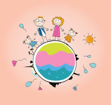 Vector Illustration of Mother, Father and childrens.