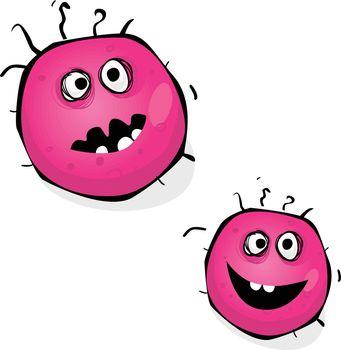 Warning! Pink bacteria of swine flu, H1N1. Art vector Illustration.
