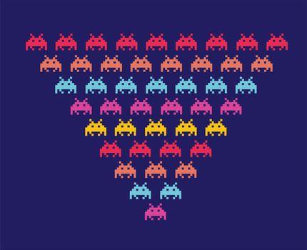 Illustration of space aliens. Vector format.
