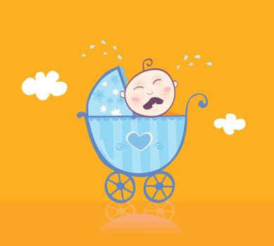 This sweet baby boy seen unsatisfied. Isn't his new blue pram enough pretty? Vector Illustration.