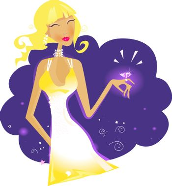 Blonde girl with ring. Vector Illustration.