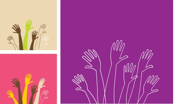 Vector Illustration of stylized various hands. Easy to change size and colors. See similar pictures in my portfolio!