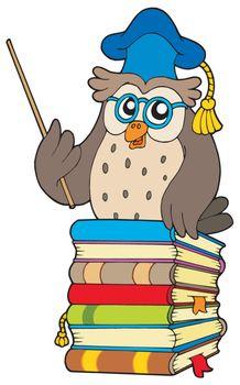 Wise owl teacher on books