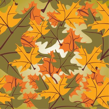 Seamless colorful maple leaf background, vector illustration