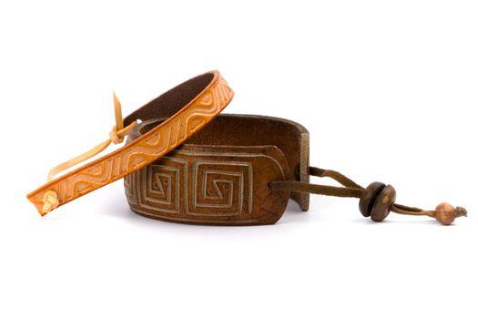 two leather bracelets
