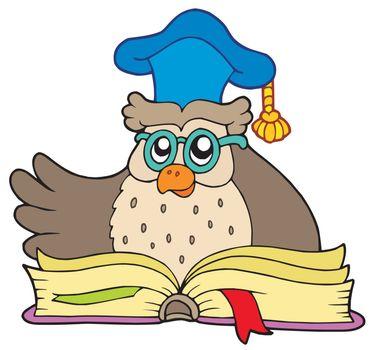 Cartoon owl teacher with book - vector illustration.