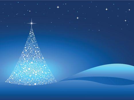 computer illustration of witner christmas tree