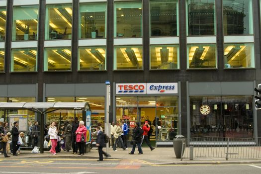 Tesco express on London Road in Manchester city center