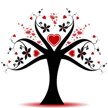 Beautiful valentine tree with hearts pattern