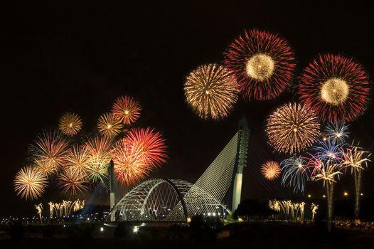 Fireworks display at Putrajaya, Kuala Lumpur, Malaysia