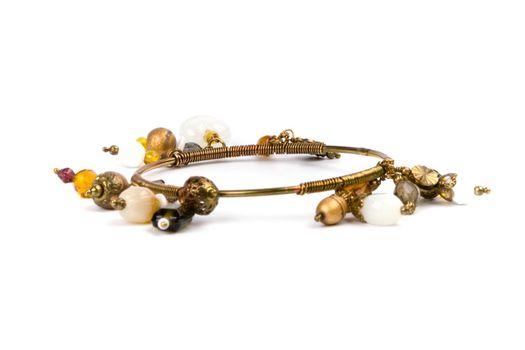 metal bracelet with stones