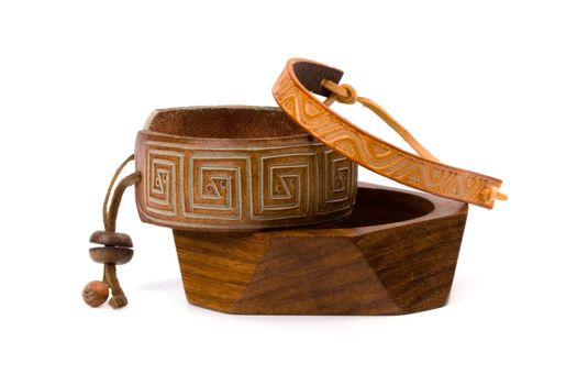 leather and wooden bracelets