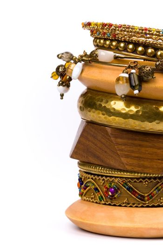 metal and wooden bracelets
