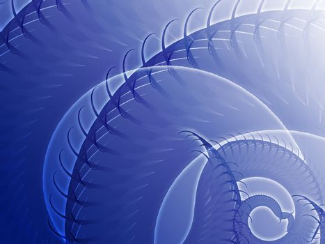 Abstract background design of swirling spiral fronds