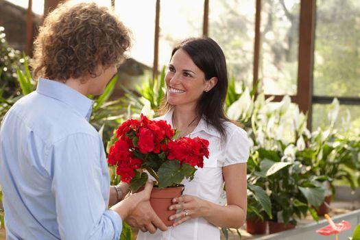 couple shopping in garden center