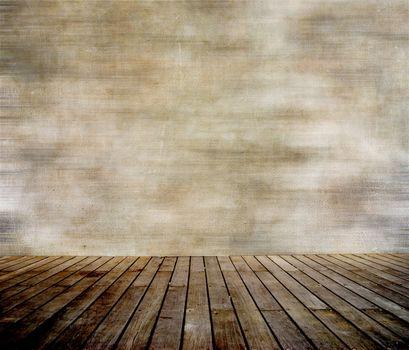 Grunge wall and wood paneled floor