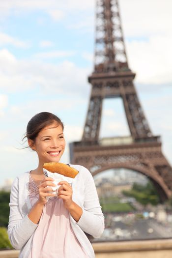 Paris woman and Eiffel Tower