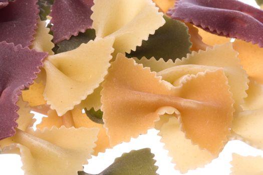 Bowtie Shaped Organic Pasta Isolated