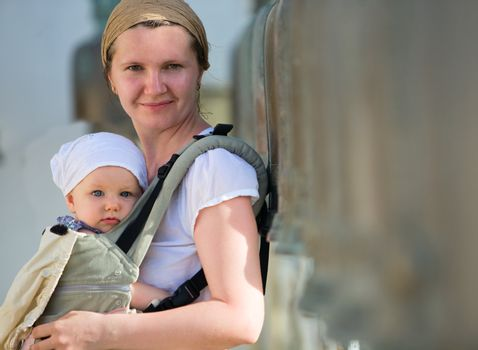Mother and baby traveling