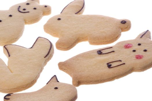 Isolated image of animal shaped biscuits.
