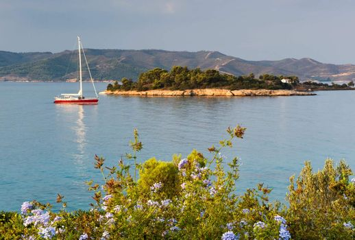 Yacht in serene location