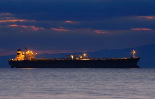 Commercial ship at dusk